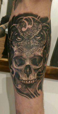 forearm skull & owl