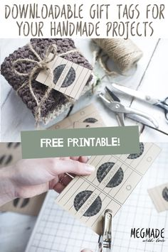 Hi there! I'm happy to bring you my latest creation: handmade gift tags,  perfect for your crocheted gifts or really any handmade gift you've whipped  up for that matter!  I'm obsessed with the way they look printed out on the brown card stock!  (TIP: Make sure to change the paper thickness set
