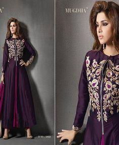 Silk Purple Embroidered Semi Stitched Anarkali Suit