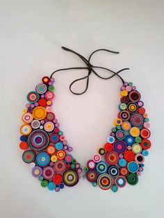 rainbow quilling collar necklace