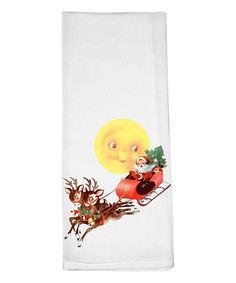 Loving this Santa & Moon Dish Towel on #zulily! #zulilyfinds