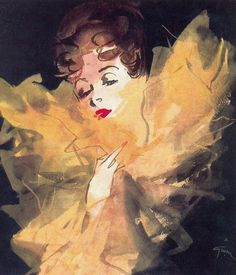 1944.  René Gruau illustration for Parfums Lucien Lelong.