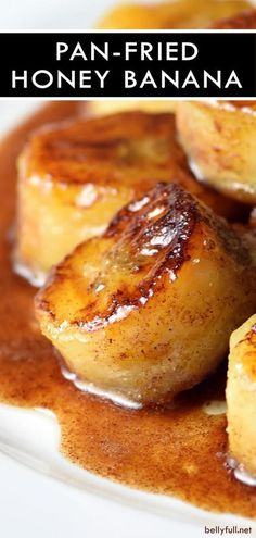 Pan Fried Honey Bananas - - These Fried Bananas are the best guilt-free snack or dessert made in less than 10 minutes! You can never go wrong with butter, cinnamon, and sugar. Banana Dessert Recipes, Köstliche Desserts, Fruit Recipes, Cooking Recipes, Cooking Rice, Fried Banana Recipes, Cooking Bananas, Banana Snacks, Desert Recipes