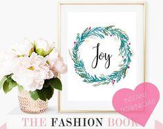 Art printable, holiday decor, joy print, christmas decor, downloadable, christmas wall art, wreath print, calligraphy print, printable art