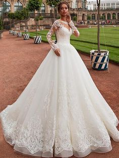 Modest Tulle Jewel Neckline A-line Wedding Dress With Lace Appliques & Beadings . - Modest Tulle Jewel Neckline A-line Wedding Dress With Lace Appliques & Beadings Source by nina_jankowski - Stunning Wedding Dresses, Modest Wedding Dresses, Perfect Wedding Dress, Tulle Wedding, Wedding Dress Styles, Bridal Dresses, Wedding Gowns, Homecoming Dresses, Wedding Rings