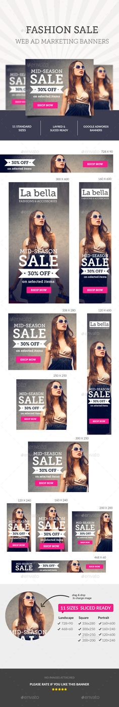 Fashion Sale Ad Banners Design Template - Banners & Ads Web Template PSD. Download here: https://graphicriver.net/item/fashion-sale-ad-banners-/10274467?s_rank=14&ref=yinkira