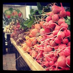 We swung by our local farmer's market this afternoon, and spotted this rainbow display of radishes and beets. Beautiful!