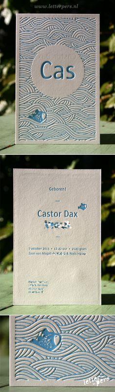 letterpers_letterpress_geboortekaartje_Cas_blauw_vis_water_preeg