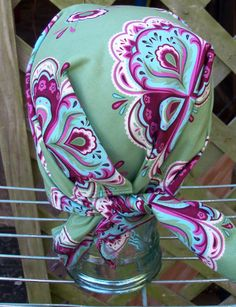 BANDANNA Light GREEN with Purple Maroon Floral Design by silcoon52, $8.00