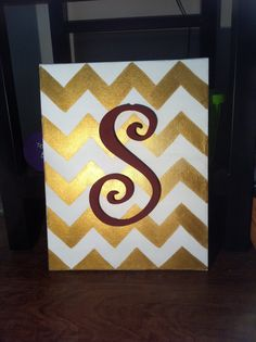 Chevron Initial Canvas by ShaynaJDesigns on Etsy