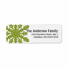 Green 1 Snowflake :: Return Address Labels