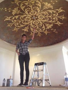 Nichole of Nichole Blackburn Art is a super talent with a heart of GOLD. When she's not creating amazing Modello stenciled ceilings like this, she is traveling the world painting donation murals for children's centers through her charity Big Sky Countries. http://www.modellocustomstencils.com/