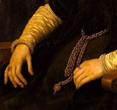 Portrait d'Anne Fernely (detail), by Antonio Moro (aka. Anthonis Mor, and Anthonis Mor van Dashorst) (Dutch, 1517-1577)