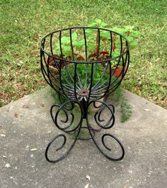 Wrought Iron Plant Stand, Fernery // LARGE Coated // from Successionary