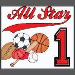 Cumpleaños de los deportes de All Star 1r Camiseta | Zazzle