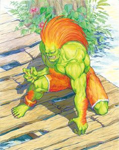 This illustration of Blanka has been made by Kinu Nishimura for the Street Fighter II CD Book. Blanka is one of the original eight playable Street Fighter Blanka Street Fighter, Street Fighter Game, Capcom Street Fighter, Street Fighter Characters, Art Of Fighting, Monster Art, Cartoon Drawings, Game Art, Fine Art Prints