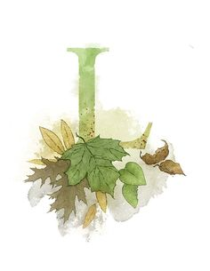 Art print of my own original mixed media illustration. Letter L Leaf - Part of an alphabet/initials series featuring natural objects such as Alphabet Art, Alphabet And Numbers, Letter Art, Nature Letters, Decoupage, Illuminated Letters, Celtic Designs, Botanical Illustration, Nursery Art