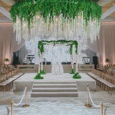 A Romantic Green and White Beverly Wilshire Wedding - International Event Company Luxury Wedding Decor, Elegant Wedding, Indoor Ceremony, Strictly Weddings, Event Company, Amazing Weddings, Chuppah, Event Design, Greenery