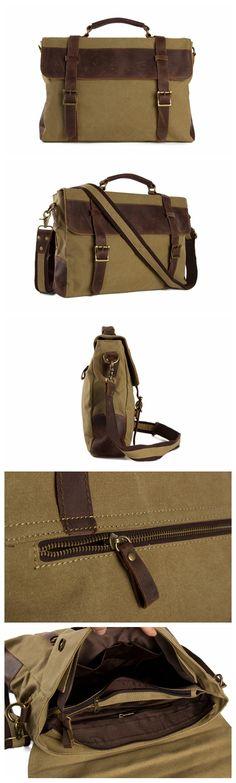 """Vintage Style Canvas Leather Laptop Bag, Messenger Shoulder Bag Satchel Bag 1870 Model Number: 1870 Dimensions: 15.3""""L x 3.1""""W x 11""""H / 39cm(L) x 8cm(W) x 28cm(H) Weight: 3lb / 1.4kg Hardware: Brass H"""