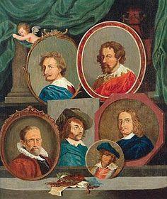 David Teniers le Jeune - Portraits of five Painters: Rembrandt, Van Dick, Tenniers and two others