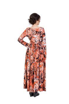 Beautiful formal long dress that I design in mind for special occasions, cocktails, outdoor and indoor events. The whole dress in floral motives and energy spirals brings to you positive energy in bright colors. The long sleeves add more conservative look. Perfect for weddings and other special events.If you want to dress up for a special occasion and you are looking for designer handmade dress with modern design, unique high quality fabric and one of a kind print, click through and order it…