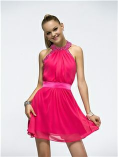 Attractive A-Line Halter Beading Charming Homecoming Dress