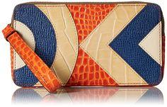 Orla KielyCroc Applique Leather Large Zip Pouch Wallet