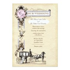 Vintage Carriage Wedding Invitation Lavender 5 x 7