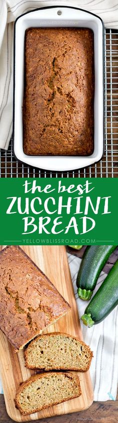 The BEST Zucchini Bread EVER A sweet zucchini bread recipe, perfect for using up a garden's worth of crops. This recipe is sure to become a family favorite and the only one you use! Best Zucchini Bread, Zucchini Bread Recipes, Zuchinni Bread, Zucchini Casserole, Healthy Zucchini, Chicken Casserole, Baking Recipes, Dessert Recipes, Desserts