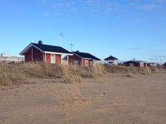 Little fishermen`s cabins in the Rantakalla beach. Kalajoen loma-asuntomessut, Photo by Laura Ruohola. Tiny Cabins, Finland, Shed, Houses, Outdoor Structures, House Styles, Beach, Home Decor, Homes