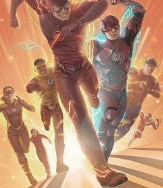 The Flash (Grant Gustin) with good speedsters❤ The Flash Comic, Jay Garrick, The Flash (Ezra Miller), Kid Flash and Jasse Quick.