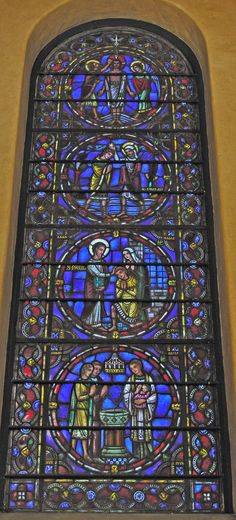 St. Bartholomew's Church - New York City, New York   South Chapel Windows by by Reynolds, Francis & Rohnstock     This window depicts Baptism, From top to bottom the baptisms are:    St. John baptizing Christ (Matthew 3: 13-17).  St. Philip baptizing Queen Candace's servant (Acts 8: 26-38).  St. Paul baptizing the captain of the prison (Acts 16:25-33).  A modern baptism.  The Memorial Chapel Windows are by Reynolds, Francis & Rohnstock of Boston. They were given in memory of Adelaide…