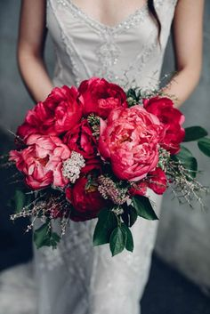 Fucking Gorgeous Fuschia Dark Pink and green winter wedding bouquet Romantic wedding bouquet - Peony wedding bouquet Idea Bouquet Bride, Peony Bouquet Wedding, Peonies Bouquet, Floral Wedding, Flower Bouquets, Red Wedding Flowers, Burgundy Wedding, Red Bridal Bouquets, Purple Bouquets