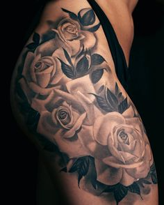 Sleeve tattoos and flower thigh tattoos. pin by transformation gallery & tattoo on austin evan's tattoo portfolio Rose Tattoo On Hip, Fake Tattoo, Rose Tattoos For Men, Sleeve Tattoos For Women, Trendy Tattoos, Rose Tattoo Sleeves, Leg Sleeve Tattoos, Thigh Sleeve, Classy Tattoos