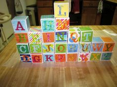 Everyone has been asking where I got the idea for Megans Alphabet blocks. Here is a site with step by step instructions to make your own DIY alphabet blocks. Perfect baby shower craft or gift.