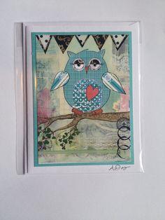 Mixed Media Owl Card. Detail of original by angiedavisdesigns, $2.50