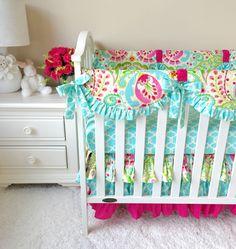Ritzy Baby Designs, LLC - Kumari Garden Teja Pink, Tarika Blue, and Hot Pink Bumperless Crib Bedding, $233.00 (http://www.ritzybaby.com/kumari-garden-teja-pink-tarika-blue-and-hot-pink-bumperless-crib-bedding/)