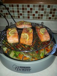 Nuwave  Salmon  with  Vegetables  . I use any    frozen  vegetables  and  any  frozen  fish .  Add  your  favorite  spices  on frozen  ingredients .  Cooking  time  16-18 minutes  without  flipping  over .  Before  serving  check  your  fish  by a  fork :) just  for  a case  :) ПРИЯТНОГО  АППЕТИТА !