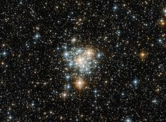 This NASA/ESA Hubble Space Telescope view of magnitude +11.7 open cluster NGC 299 shows a field of view of 2.04 x 1.51 arcminutes. The cluster lies 200,000 light-years away within the Small Magellanic Cloud in the constellation of Tucana (The Toucan), α=00h 53.4m, δ=-72° 12' (J2000.0). Click the picture for a full-size version. Image credit: ESA/Hubble & NASA.