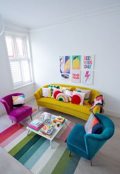 Will Washing Bedding Kill Fleas Product Home Room Design, Home Interior Design, Living Room Designs, Living Room Decor, Yellow Sofa, Yellow Armchair, Colorful Apartment, Colourful Living Room, Sofa Colors