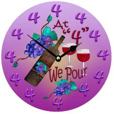 At 4 We Pour Fun Cocktail Wine  wall clock  large 11 by maremade, $39.99