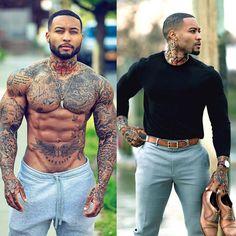 Body tattoos, sleeve tattoos, badass tattoos, life tattoos, tattoos for Gorgeous Black Men, Handsome Black Men, Beautiful Men, Full Body Tattoo, Body Tattoos, Badass Tattoos, Life Tattoos, Tatoos, Lion Head Tattoos