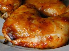 Caramelized chicken...simple...minced garlic, ketchup, olive oil, soy sauce, honey, and ground black pepper.