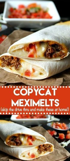 Copycat Meximelts are a drive thru favorite you can make at home! Melty cheese, … Copycat Meximelts are a drive thru favorite you can make at home! Melty cheese, flavorful beef and pico make these a family favorite! Mexican Dishes, Mexican Food Recipes, Recipes Dinner, Ground Beef Recipes Mexican, Mexican Cheese, Dessert Recipes, Snacks Sains, Comida Latina, Enchiladas