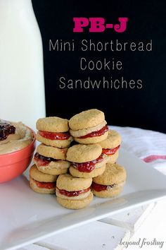 Peanut Butter & Jelly Mini Shortbread Cookie Sandwiches
