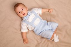 Baby boy linen suit Ring bearer outfit Boy baptism shorts with suspenders First birthday clothes Wedding baby formal suit baby blue white by Graccia on Etsy https://www.etsy.com/au/listing/213748778/baby-boy-linen-suit-ring-bearer-outfit