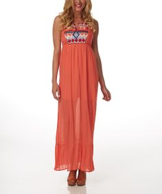 Orange Sheer Tribal Embroidered Racerback Maxi Dress | zulily