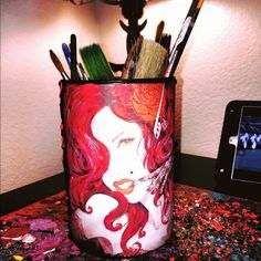 DiY brush/pen holder Beautiful and hand painted! Everything is done custom!  Send over your image that you would like and we can talk about putting it on a bottle or a brush holder! Email me at ButterflyCreations702@gmail.com like and follow my page for more info and lower prices!! :) Accessories