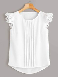 Shein Solid Contrast Lace Blouse
