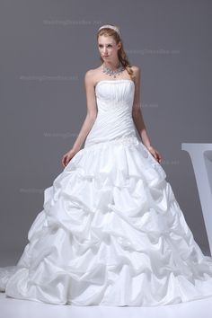 Classic strapless taffeta wedding dress with full line catch-up skirt